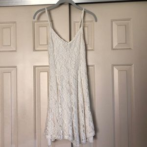 AEO White Lace Fit & Flare Dress Sz S